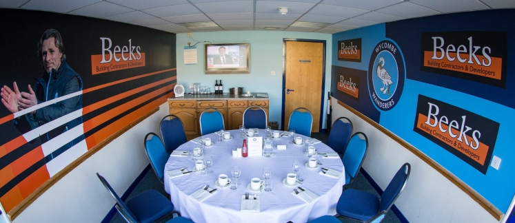 Beeks executive box during the Sky Bet League 2 match between Wycombe Wanderers and Morecambe at Adams Park, High Wycombe, England on 24 February 2018. Photo by Andy Rowland.